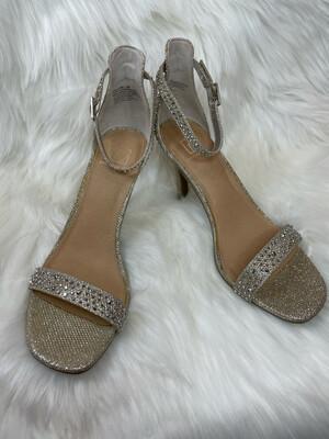 Material Girl Gold Ankle Strap Sandal Heels - Size 8