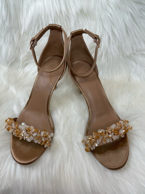 Tory Burch Satin Sandal Heels w/ Peach & Cream Beading - Size 8