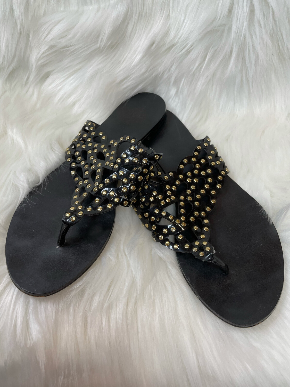 Vince Camuto Black Flat Sandals w/ Gold Studs - Size 7