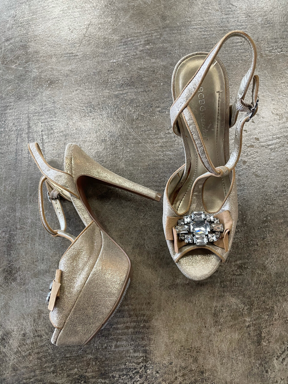 BCBGeneration Gold Beaded Peep Toe Heels - Size 7