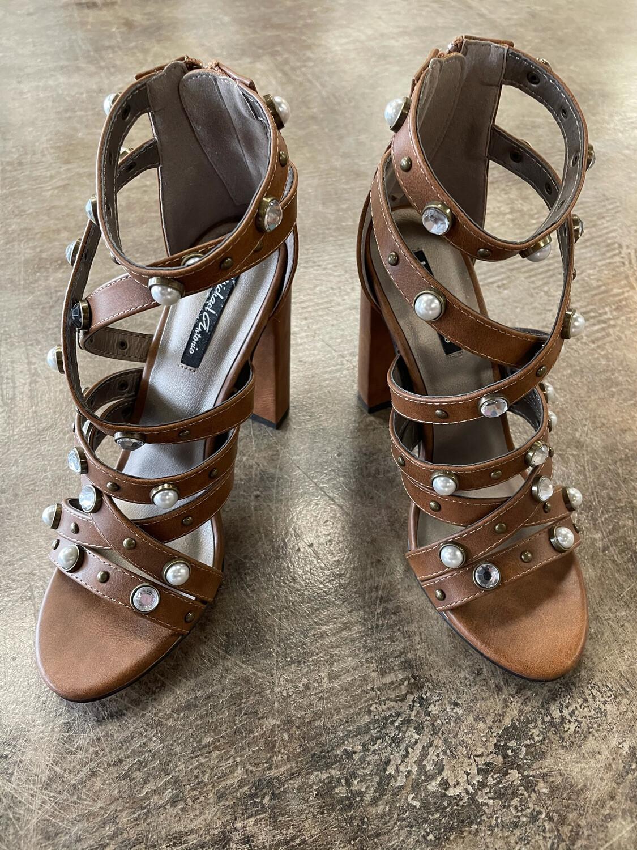 Michael Antonio Brown Studded Strappy Sandal Heels - Size 7.5