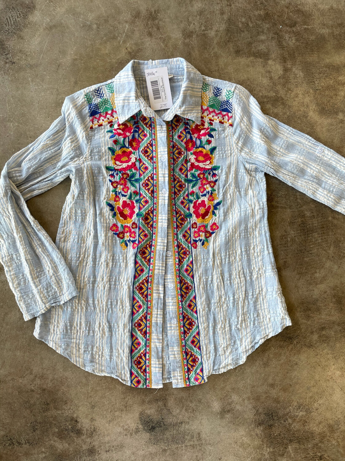 Savanna Jane Blue Floral Embroidered Button Up Top  - S
