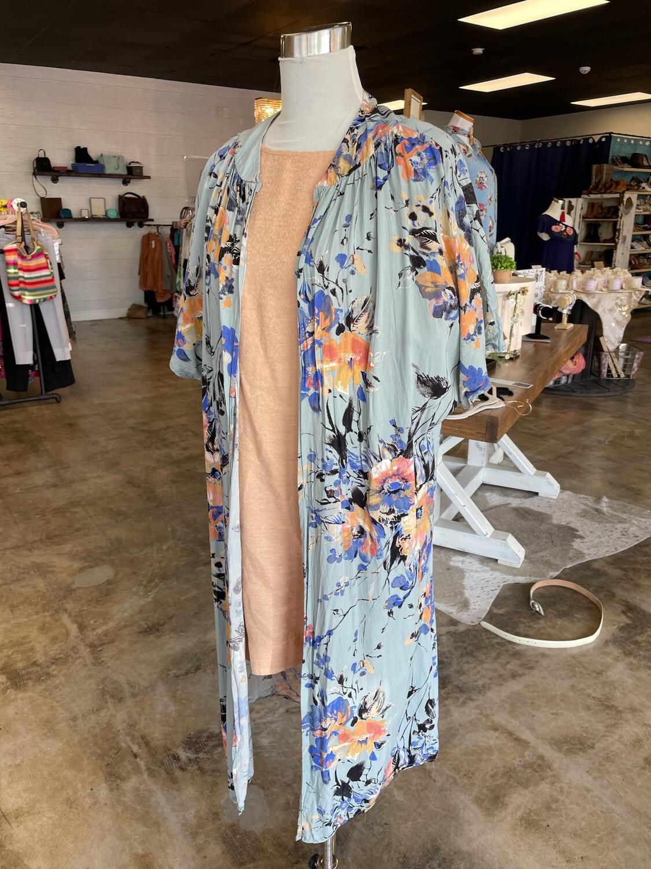 Umgee Turquoise Floral Long Kimono - S
