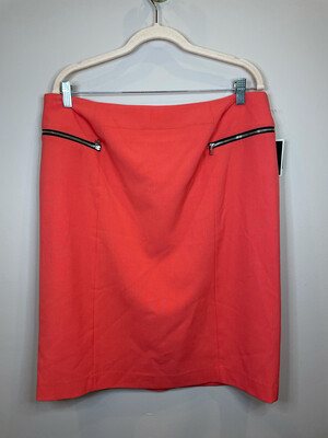 Nine West Coral Skirt w/ Black Zippers - Size 14