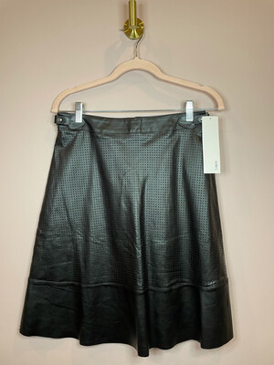 Lapis Faux Leather Flare Skirt w/ Buckle Sides - S