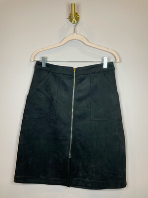 Glam Black Suede Skirt w/ Zipper Front - S
