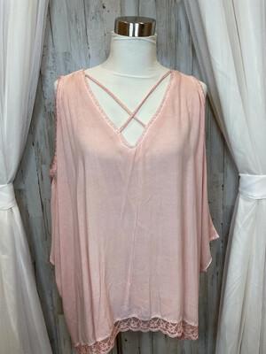 Umgee Pink Cold Shoulder Lace Trim Oversized Top - M