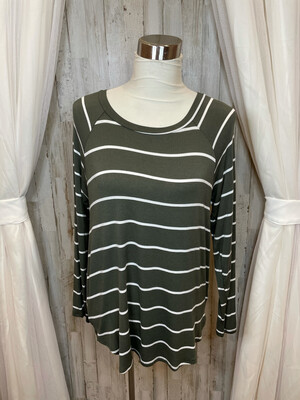 Riah Olive Striped Long Sleeve Top - M