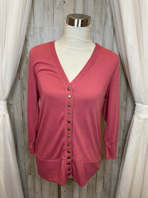 Zenana Outfitters Rose Button Up Cardigan - XL