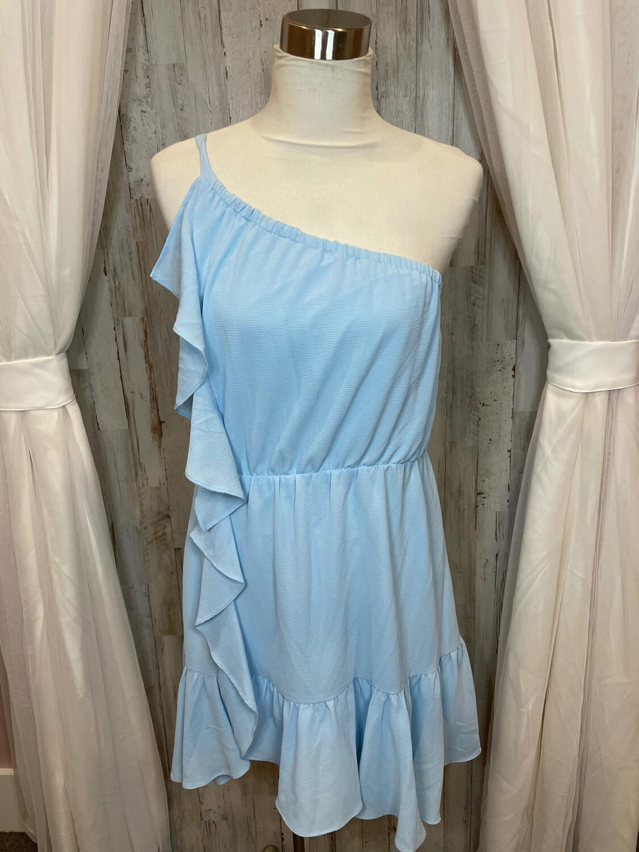 Kaari Blue Baby Blue One Shoulder Ruffle Dress - L