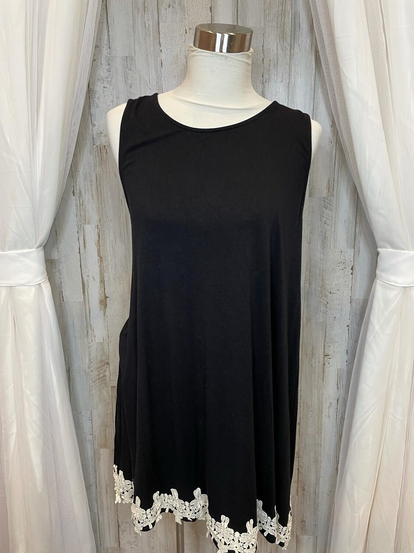 Umgee Black & Cream Embroidered Dress - S