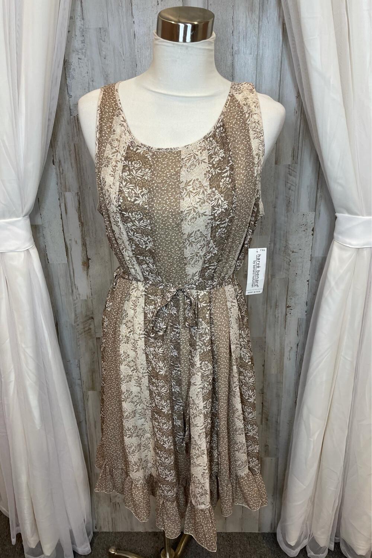 Harve Benard Cream & Beige Floral Ruffle Dress - Size 16