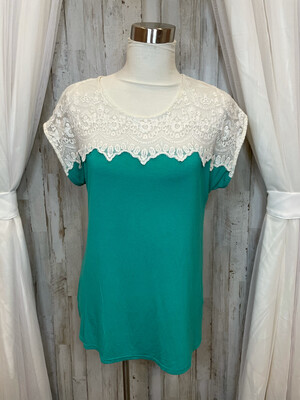 Umgee Green & White Lace Top - S