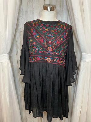 Umgee Black Floral Embroidered Dress - M