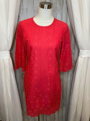 Ann Taylor Cajon Shrimp Eyelet Dress - Size 6P