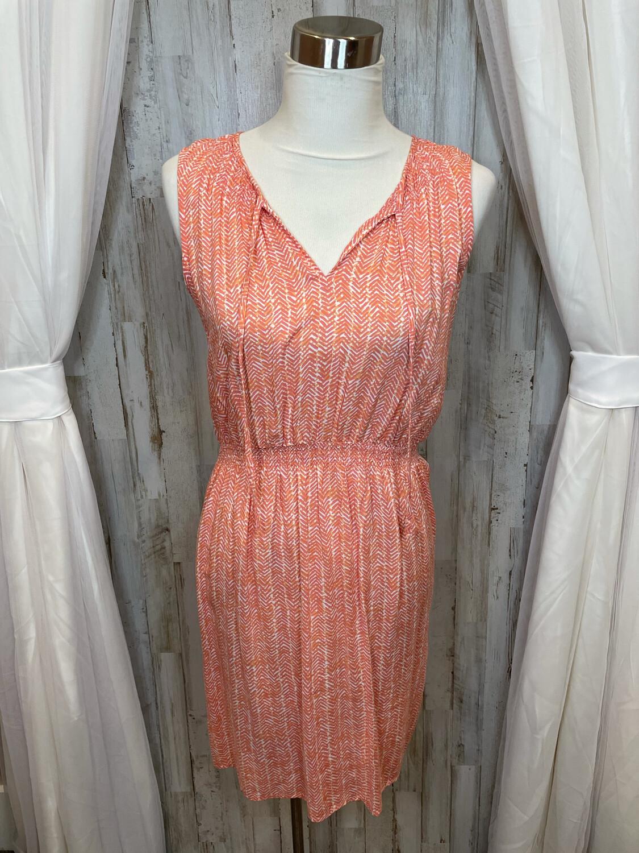 LOFT Orange & Pink Patterned Tank Dress - S