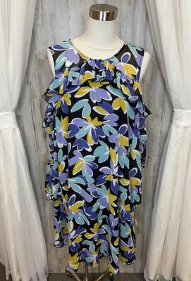 Nine West Purple Floral Long Sleeve Dress - Size 14