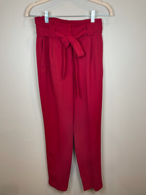 Express Red Belted Dress Pants - Size 0