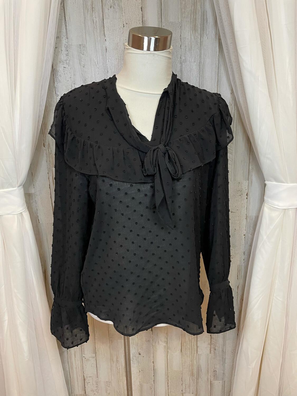 Ann Taylor Black Sheer Textured Top w/Ruffle & Tie - S