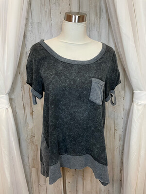 Umgee Grey Top with Pocket - S