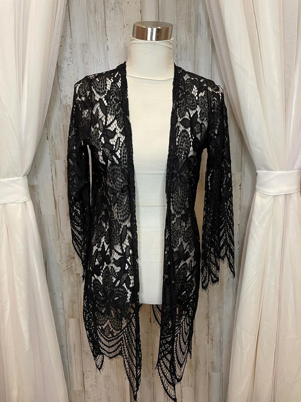 She & Sky Black Lace Kimono - S
