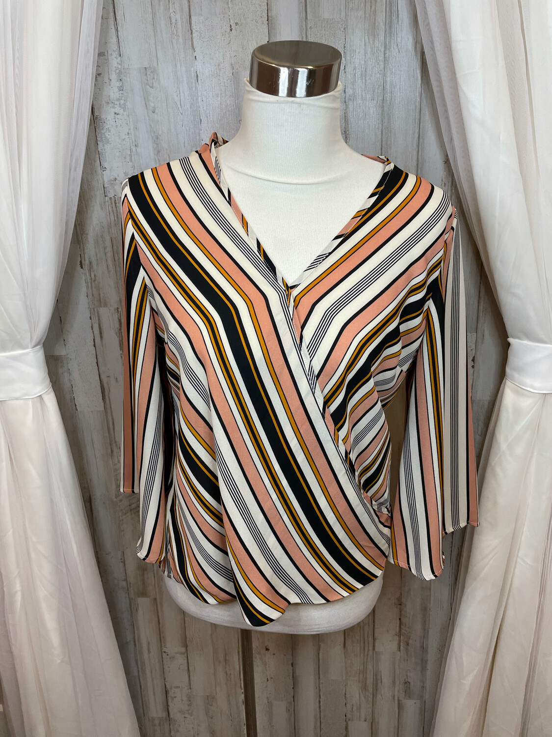 W5 Black Pink & Gold Striped Crossover Top - S