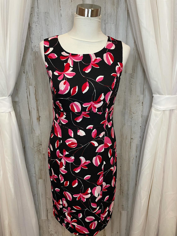 Kasper Black Dress w/Pink Floral Print - Size 4