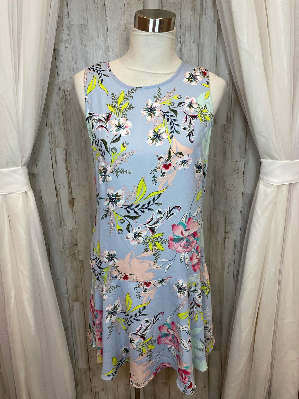 Nicole Miller Studio Blue Floral Print Dress - Size 10