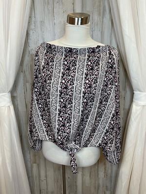Kaari Blue White & Black Top w/Pink Floral & Tie Front - XL