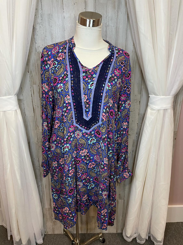 Matilda Jane Purple Floral Print Dress w/Lace Trim - L
