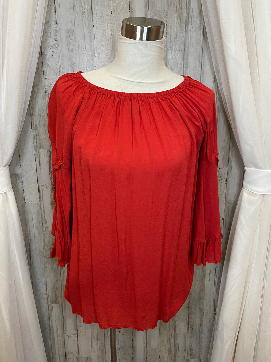 Entro Red Ruffle Sleeve Off Shoulder Top - S