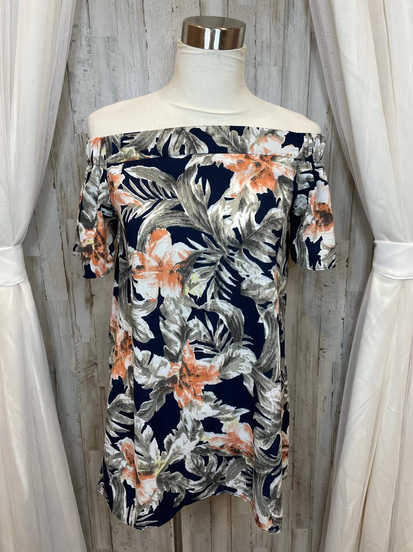 Alythea Floral Off Shoulder Tunic Top - S