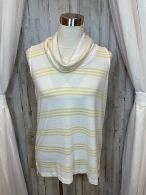 LOFT White & Yellow Striped Lounge Tank Sweater - M