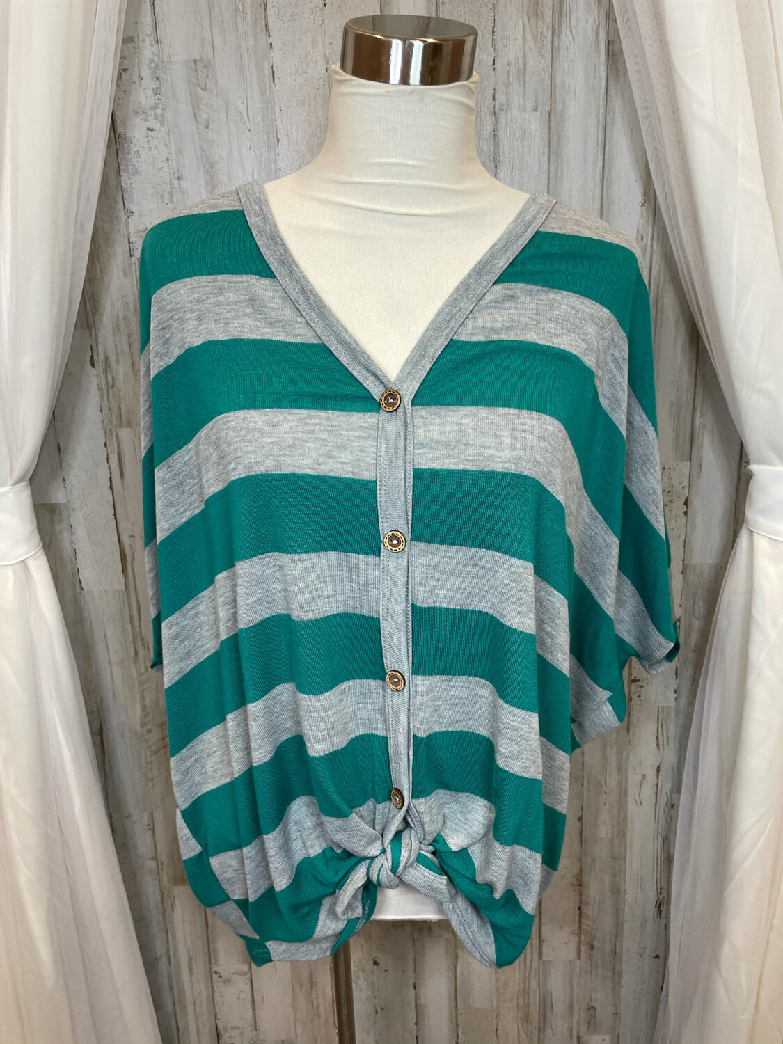 Fantastic Fawn Green & Grey Striped Button Up Front Tie Top - M