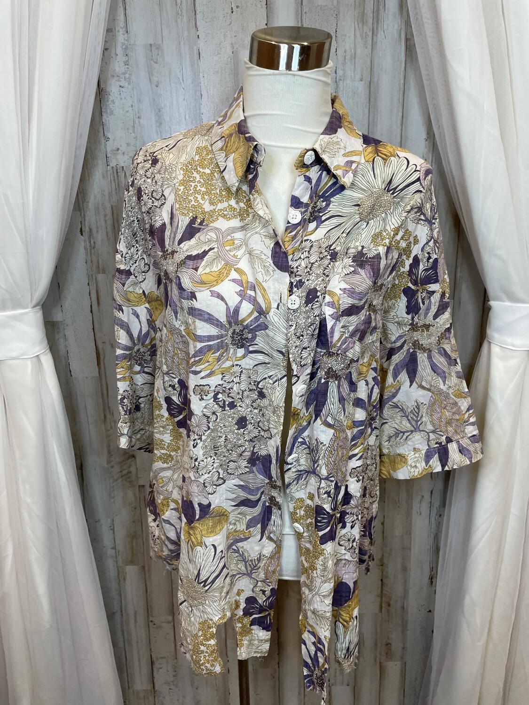 POL Gold & Purple Floral Button Up - M