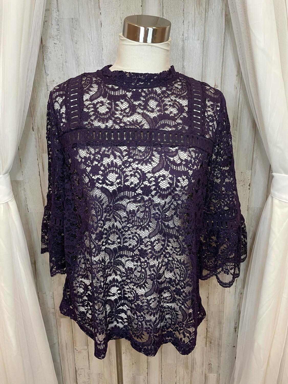 LOFT Purple Lace Top - L