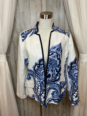 Chico's White Blazer w/Blue Demask Print - Size 1