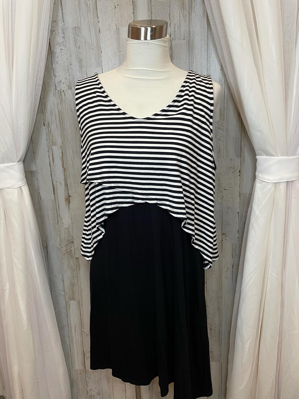 Style & Co. Black & White Striped Dress - XL