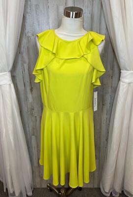 Nicole Miller Studio Lime Ruffled Dress  - Size 16
