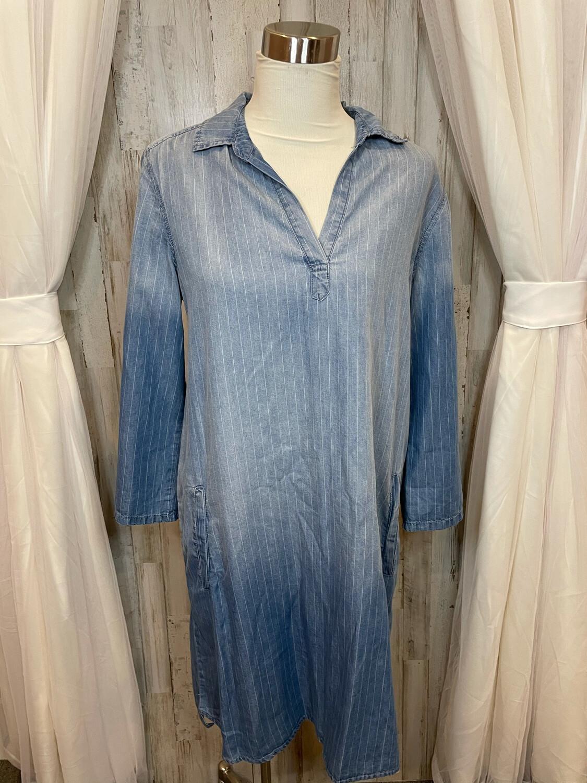 Luxology Striped Denim Dress w/Pockets - Size 10