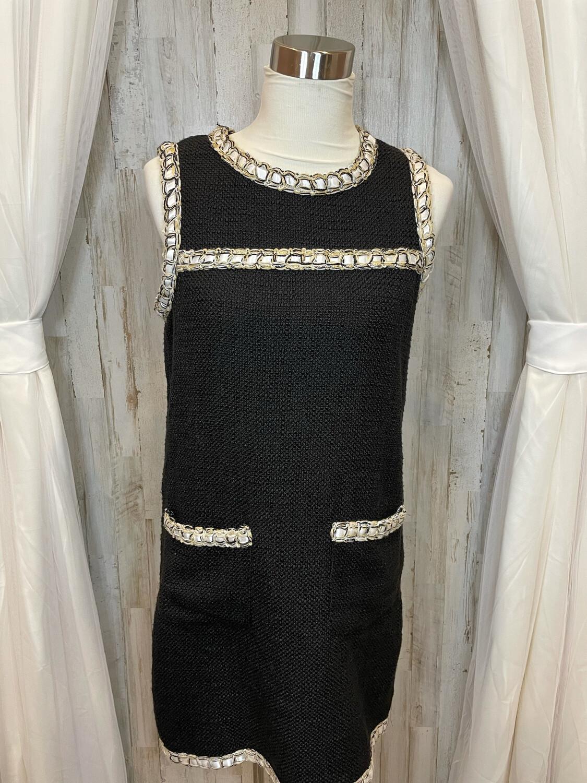Lili Sidonio Black Dress w/White Lace & Gold Accent - M