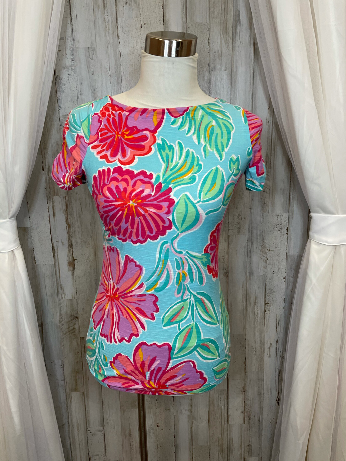 Lilly Pulitzer Blue Floral Top - XS
