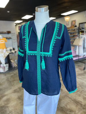 J. Crew Navy Top with Green Embroidery & Tassel - Size 0