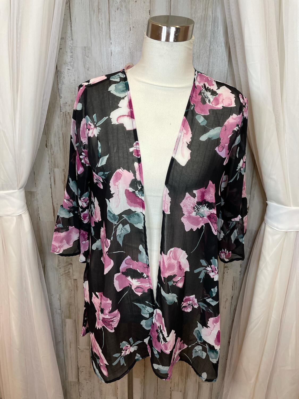 Lara Black Sheer Kimono w/Pink Floral Print - S/M