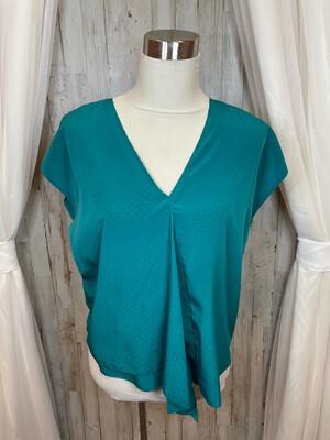 Rachel Roy Green V-neck Top w/Overlay - S