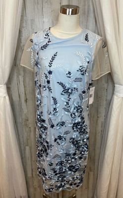 Donna Ricco Blue Sheer Dress w/Floral Embroidery - Size 16