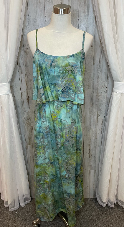 Sartiki Blue & Green Maxi Dress w/Grey Floral Print - S