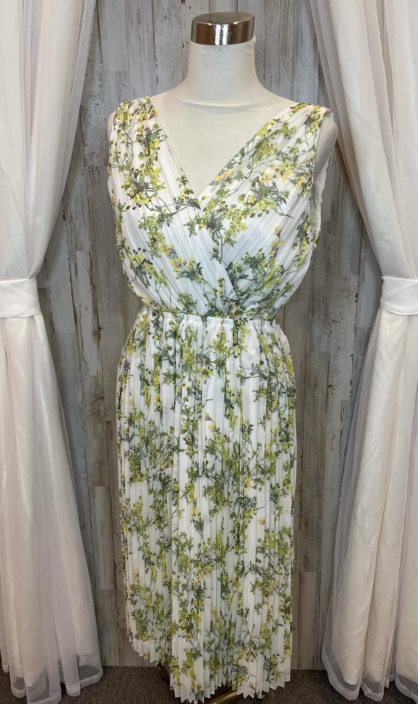 Alex Marie White Sheer Dress w/Yellow Floral Print - Size 4