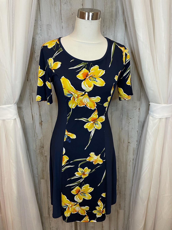 Sami &  Jo Navy Dress w/Gold Floral Print - M