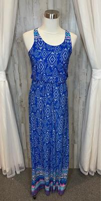 Renee C. Blue & White Patterned Maxi Tank Dress - M